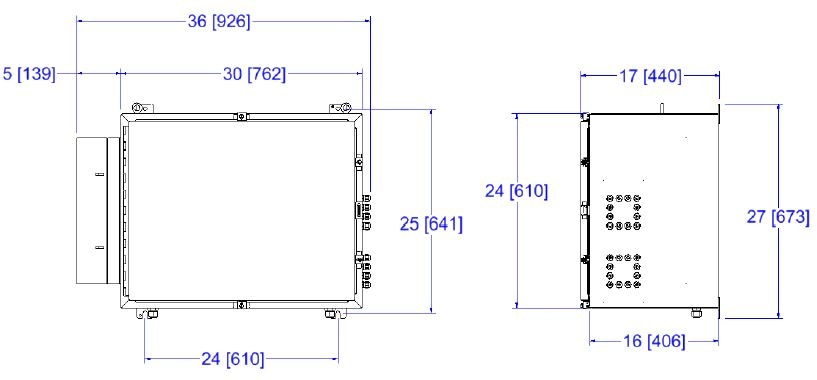 12 channel NIR-O General Purpose (GP) enclosure shown. Dimensions will vary depending upon purge packages.