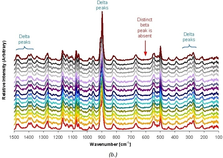 Raman spectra taken at 5-hour intervals for δ D-mannitol.