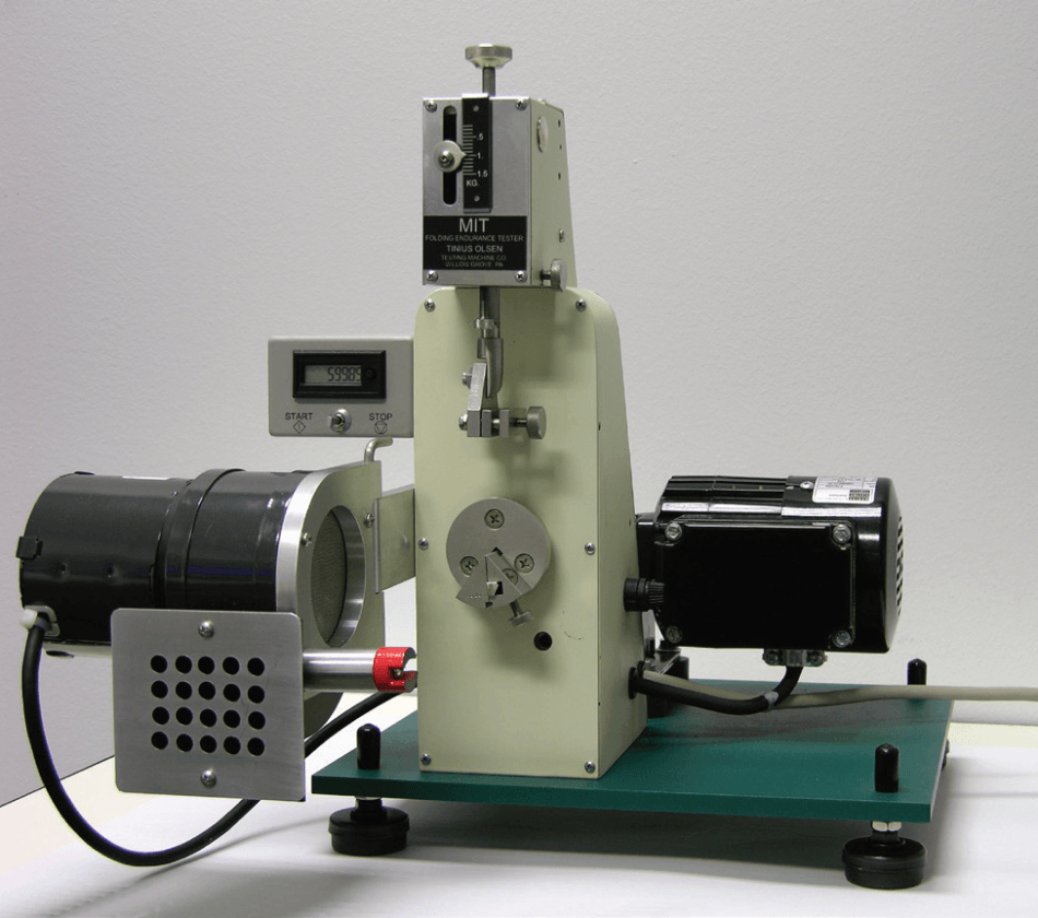 Model 1 Folding Endurance Tester for paper with optional exhaust fan for testing in accordance with ASTM D2176 and TAPPI T 511