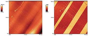 This example highlights the benefits of phase imaging with a AFM. Topography (left) and phase image (right) of a cryo-microtomed multilayer polyethylene sample. While topography is dominated by large-scale undulations, phase provides a clean view of the layered structure. Additional fine structure shows the presence of small droplets.