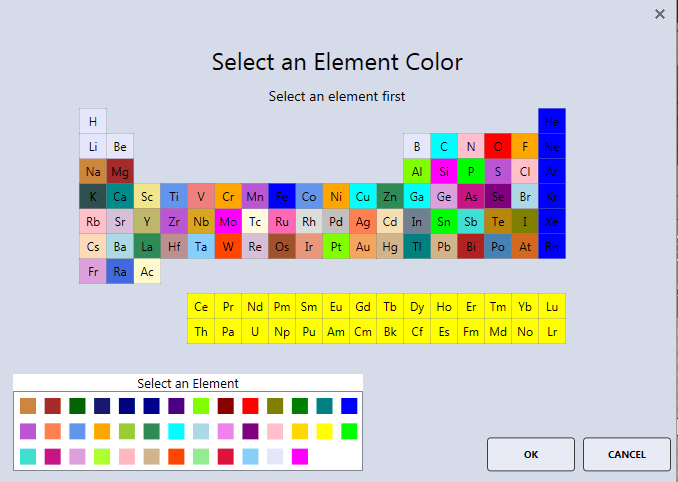 APEX™ element color selector window.