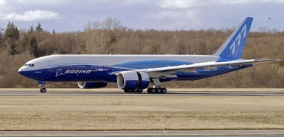 The first Boeing 777-200LR Worldliner, the world's longest range commercial airplane, today completed its first flight and began a test program that will lead to its first delivery in January 2006.