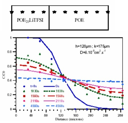 Evolution of the concentration profile of TFSI by self diffusion in the assembly consisting of a P(EO)20 LiTFSI and a PEO film at 80°C. Plain lines: theoretical function (with