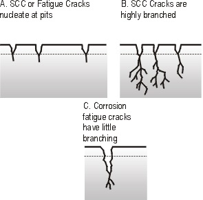 Schematic view of Stress Corrosion Cracking (SCC) and corrosion fatigue cracking.