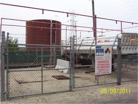 Stored Hydrogen-Tube Trailer Delivery System at Unit #6.