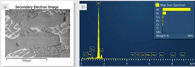a) Secondary electron image of area analysed. b) spectrum of the area analysed from the sum of all X-ray data collected during X-ray SmartMap acquisition.