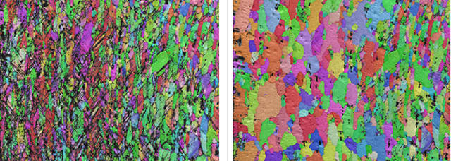 EBSD pattern IPF coloured maps before (left) and after (right) heating to 440ºC.