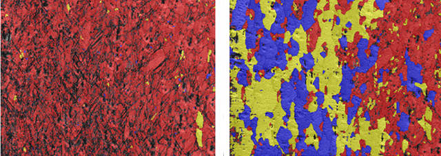 EBSD Recrystallisation fraction maps before (left) and after (right) heating to 440ºC. (blue=recrystallised, yellow=