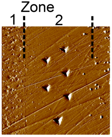 SPM image of indent impressions in Zone 2 collected at 650 °C.