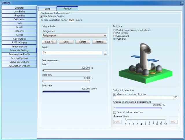 All measurement parameters can be saved to a Test Group.