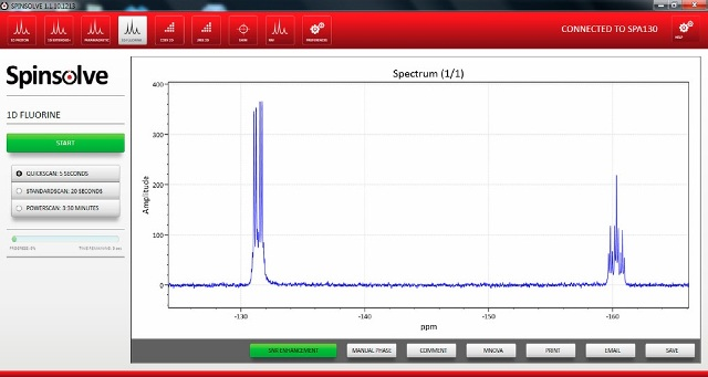 Spinsolve v1.1 software showing a single scan 19F acquisition of 5- bromo-1,2,3-trifluorobenzene