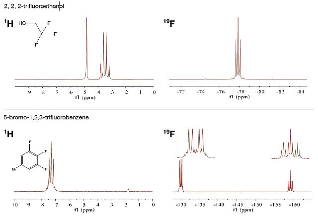 Example of Proton and fluorine NMR on the same sample
