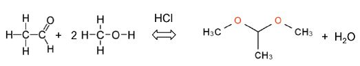 equation shows how acetaldehyde reacts with methanol to yield acetaldehyde dimethyl acetal.