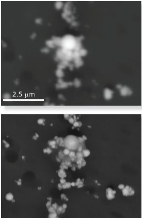 Backscattered electron images of small particles on an air filter acquired at 20 kV (top) and 10 kV (bottom). Better image resolution (clearer, less blurry image) is achieved at 10 kV. enabling more accurate measurement of particle morphology.