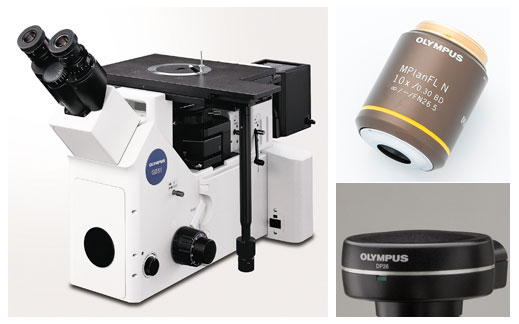 Typical equipment configuration: inverted metallurigical microscope, 10x metallurigical objective lens, microscope-specific high-resolution digital camera.