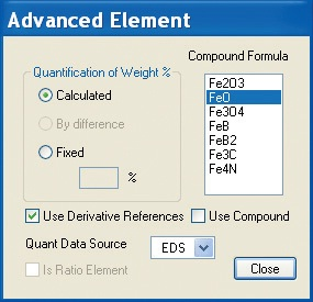 Advanced pane showing how to choose the Compound Formula for an element