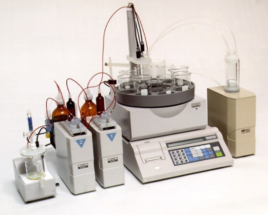 Titration apparatus used in laboratories.