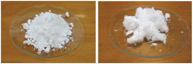 Crude and recrystallized salicylic acid