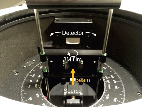 Photograph of the ARTA with the 3M® film (which looks like a mirror since it reflects visible wavelengths) mounted in the sample holder. The detector is shown without a slit aperture, which corresponds to an acceptance angle of 20°.