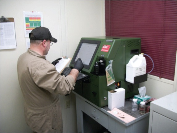 Technicians obtain oil analysis results in less than 15 minutes.