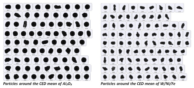 Particle images around the CED mean of each sample.