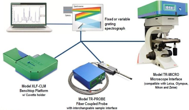 THz-Raman® systems showing benchtop, probe and microscope configurations