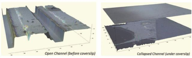 Images showing a channel before and after application of cover slip, in a microfluidic device made via photolithography in PDMS, then covered with a flat piece of PDMS. After the application of the coverslip, the channel collapsed. While easily visible on this Zeta Optical Profiler using CGSI technology, the collapsed channel had previously been a mystery to the university lab fabricators.