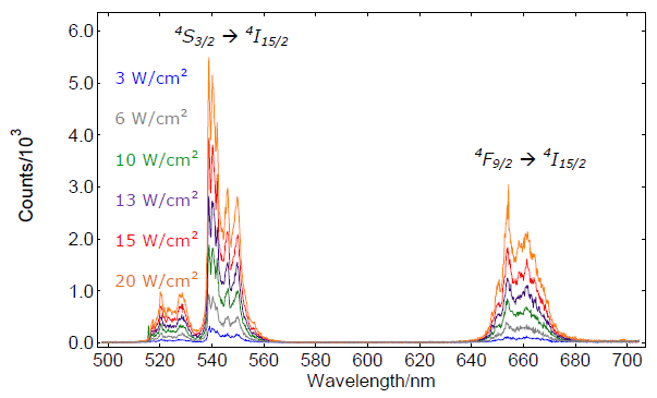 Emission spectra of NaYF:YbEr from the S3/2 and F9/2 to I15/2 upon 976.4nm excitation