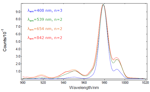 Excitation spectra from 900nm to 1020nm at the peak wavelengths of the main emission bands.