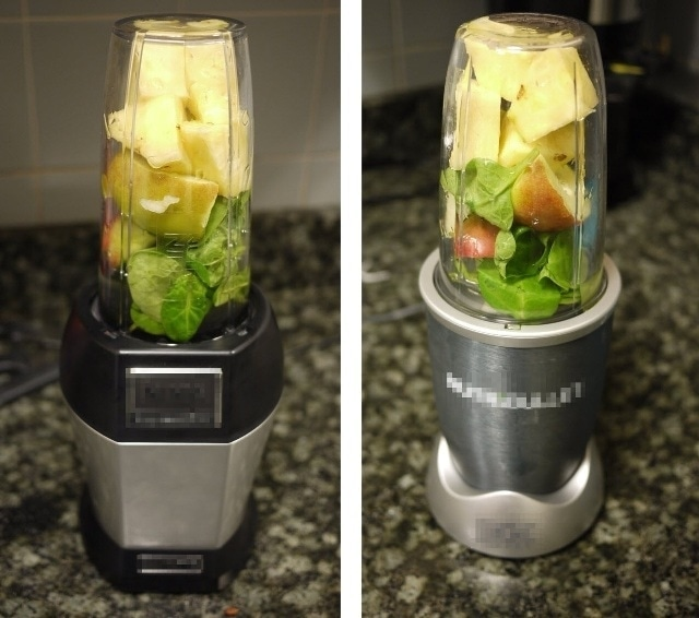 Pictures of Blender A (left) and Blender B (right) loaded with fruit and vegetables.