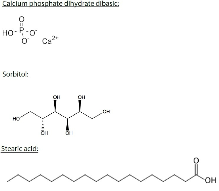 Chemical representation of calcium phosphate dihydrate dibasic, sorbitol, stearic acid, and whey protein