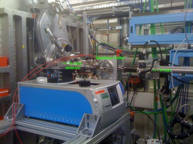 The combined MALS-SAXS apparatus in the SWING beamline hutch at SOLEIL.
