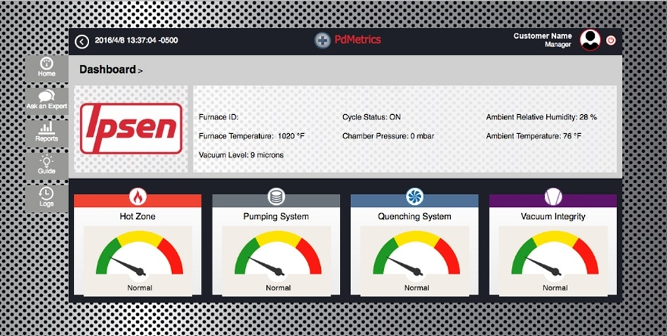 The PdMetrics platform measures and reports, in real time, data gathered on the health and integrity of the furnace