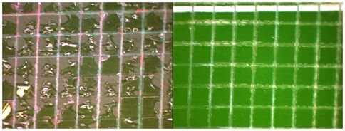 Adhesion testing results using the ASTM method D3350 or ISO 2409 Scotch tape test. To perform the test, the coating is deposited on the board surface, then scored in a cross hatch pattern. Scotch tape is applied and then peeled off. The number of squares removed is then compared to an adhesion chart. The more squares removed, the less the adhesion, while the fewer squares removed, the better the adhesion.