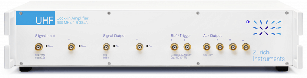 Zurich Instruments UHFLI Lock-in amplifier representing the state of the art of lock-in technology. The 600 MHz signal input bandwidth as well as the 5 MHz demodulation bandwidth make it by far the fastest lock-in amplifier on the market today. In addition, the 19 inch wide instrument integrates the greatest amount of functionality, see Figure 16, while providing the most advanced instrument control software LabOne® (see Figure 15).