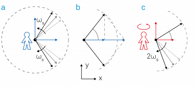 Demodulation process represented in the complex plane. (a) The input signal Vs(t) can be expressed as the sum of two counter-rotating vectors. (b) The projections onto the x-axis add up whereas the projections to the imaginary y-axis cancel each other out. (c) In the rotating frame the counter-clockwise vector is standing still, the clockwise moving vector rotates at twice the observer