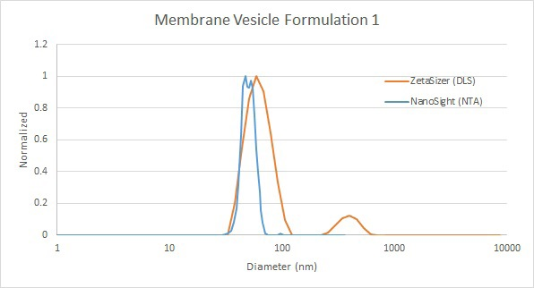 Comparison of membrane vesicle analysis by DLS (red) and NTA (blue).