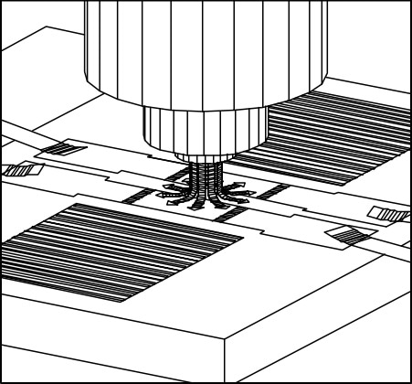 GC/SAW nozzle interface showing interaction of column and acoustic cavity