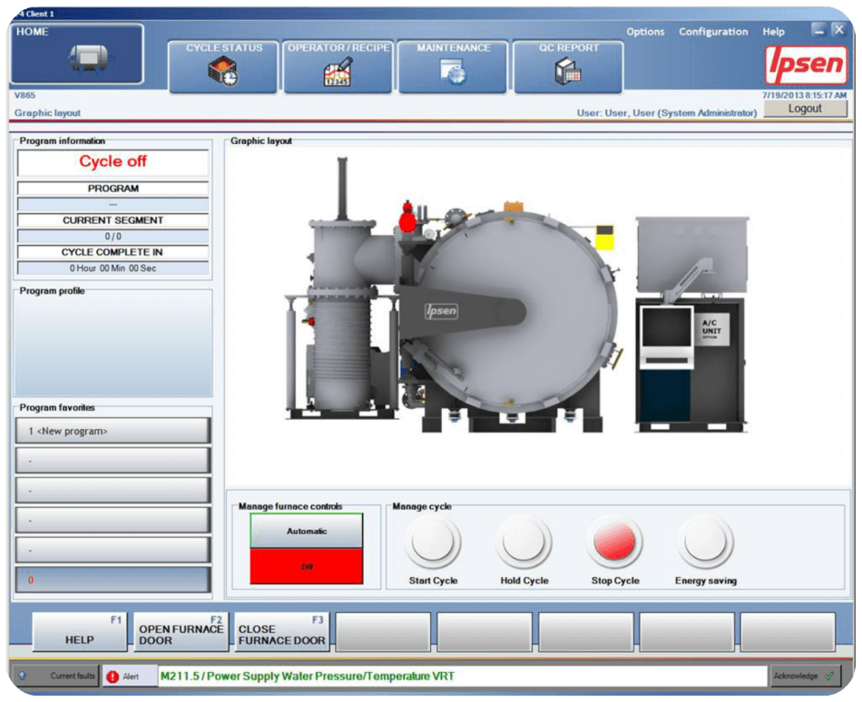 VacuProf control screen
