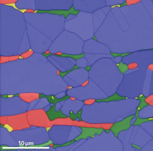 Phase map of a heat-treated duplex steel. 622 x 512 pixel resolution patterns were collected at 493 pps. Blue – austenite, Red – ferrite, Green – Sigma, Yellow – Chi.