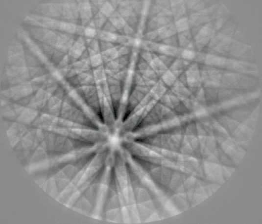 High-resolution EBSD pattern from an as-cast niobium sample (915 x 915 pixel). Exposure time 7 s, with background subtraction.