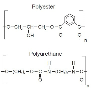 Chemical structures of two typical binders used in paints and coatings.