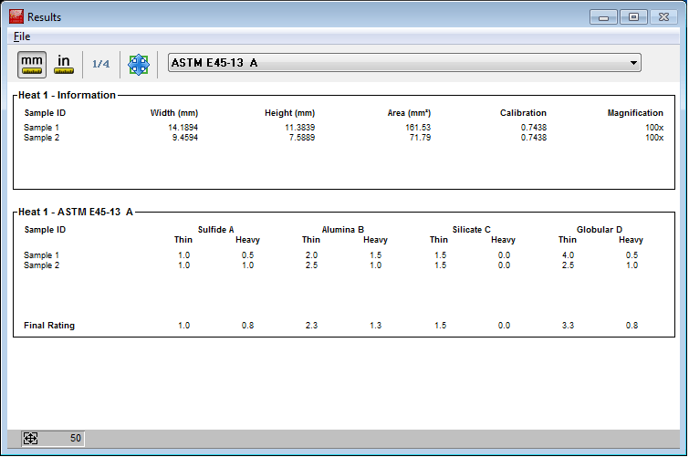 Results window that appears when the run is completed.