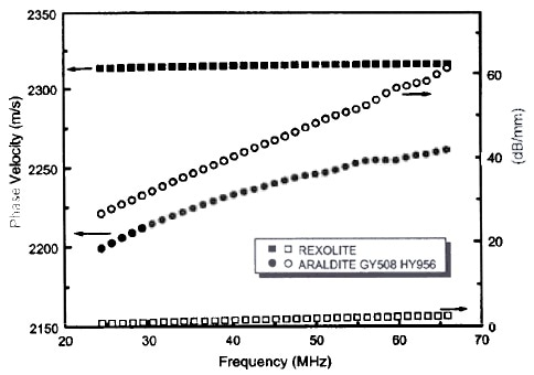 The frequency dependence of phase velocity and attenuation of longitudinal wave in Rexolite and Araldite (GY508/HY956) (Curbell Plastics, Glenshaw, PA).