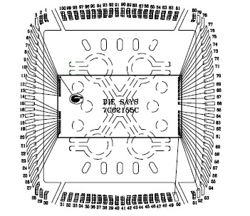 Layout of a 54-pin, SMT style memory device.