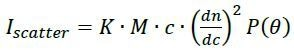 first-principles physical relationship between the molar mass (M), scattered intensity (Iscatter), scattering angle θ and concentration (c)