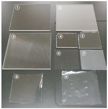 Plastics of Different Materials and Surface Treatments 1: PMMA (Clear), 2: PMMA (Matte), 3: PMMA (Textured), 4: PET, 5: PVC, 6: PVC (Clear), 7: PVC (Surface Treated), 8: PP, 9: PE