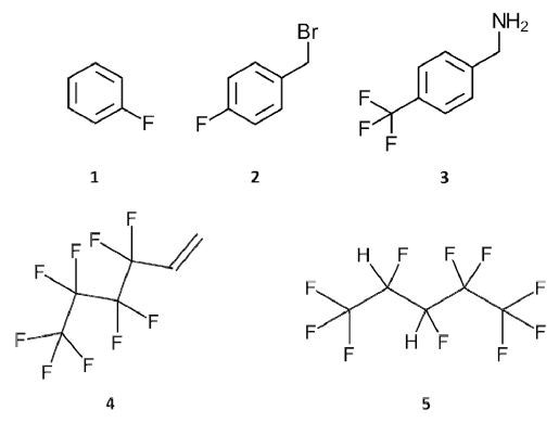 Chemical structures of the fluoroorganic compounds used in this study. (1) Fluorobenzene; (2) 4-fluorobenzyl bromide; (3) [4-(trifluoromethyl)phenyl]methanamine; (4) perfluoro-n-butyl ethylene, trade name Zonyl® PFBE; and (5) 2H,3H-decafluoropentane, trade name Vertrel® XF.