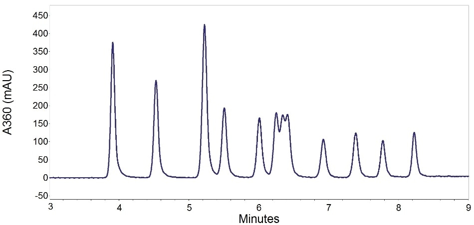 Chromatogram of 13 carbonyls