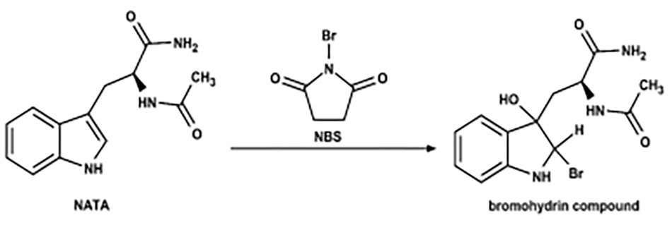 Oxidation of N-acetyl tryptophanamide (NATA) by N-bromosuccinimide (NBS).